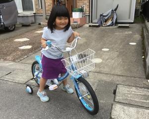 孫の自転車。