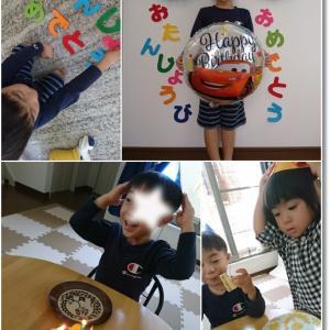 王子4歳おめでとぉ~!も100均で(〃ω〃) 美味しかったケーキとお寿司♪