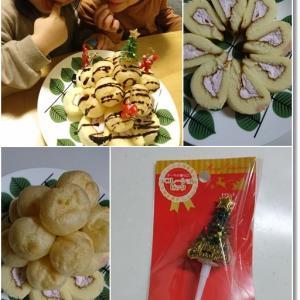 【シュークリームツリー】コンビニスイーツで簡単5分でデザート完成(笑)とクリスマスプレゼント♪