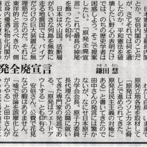 原発全廃宣言(安倍総理有終の美?)