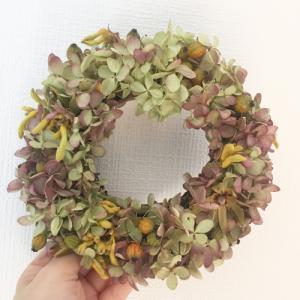 アンティーク紫陽花の秋色リース