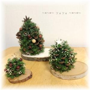 松ぼっくりツリー3種とスワッグ