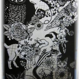 切り絵 No.282(花と動物たち) ~⑫くり抜き編~