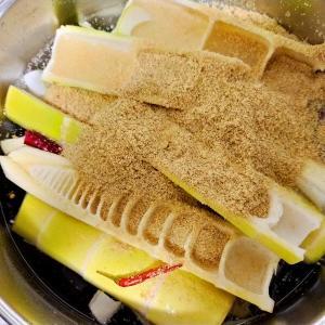 発酵メンマ用に真竹を塩漬け