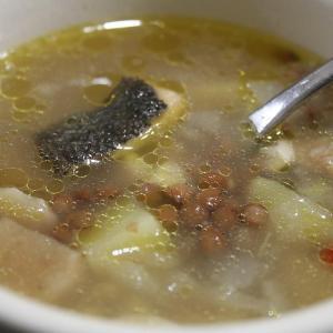 自家製バカラオスープ、途中でピルピル実験