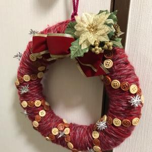 コガネバナ・カテキュー・その他いろいろ草木染めのマフラー2点+ 実家の毛糸巻き巻クリスマスリース