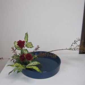 お稽古のお花~染め雪柳で観水型と