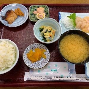 青森県むつ市  下北名産センターで、帆立刺定食を食べる。
