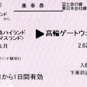 富士急ハイランド⇒高輪ゲートウェイ間の乗車券