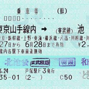 東京山手線内⇒(東武線)池袋間の連絡乗車券
