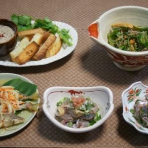 魚肝のパテ・カンパチメジロ食べ比べ・へら寿司風