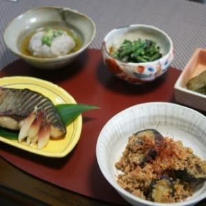 カンパチ西京味噌漬け・茄子と豚ミンチの味噌炒め