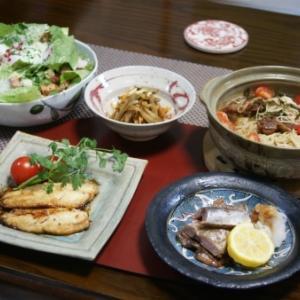 鰺のバター醤油・三杯鶏麺・シーザーサラダ☆CHICAマスクと戯れる^^。
