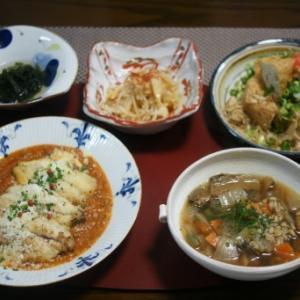 鯵のトマトソースムニエル・ポルチーニ茸とファッロのスープ☆沖縄土産
