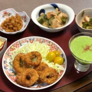 剣先リングフライ&家庭菜園お野菜料理