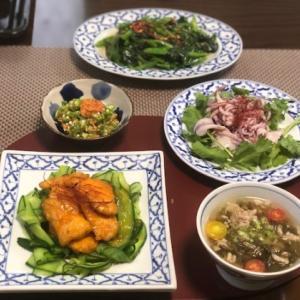 エスニック風ランチ&剣先と道の駅食材の晩ご飯