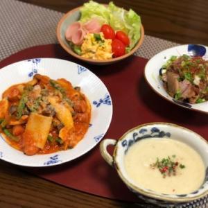 きのことミッレリゲのトマトソース・茄子の冷製スープ