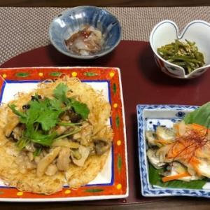焼き素麺のキノコあんかけ・剣先ミートソースパスタ