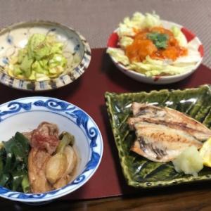 葉玉ねぎと牛肉の煮物・鰺干物☆CHICAの願い叶わず^^;