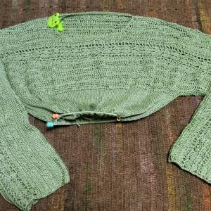 まだ夏糸 試作セーター 身頃進捗状況