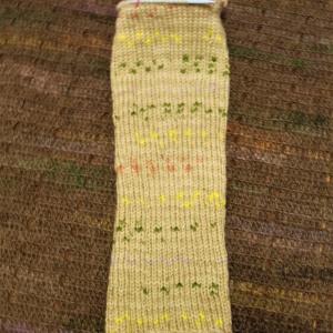 ヨーロッパの手あみ 袖1玉編めました