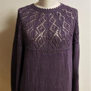 ネックから編む大人のニット アレンジ透かしヨークセーター 完成です