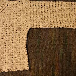2021手編み大好き!まっすぐ編みのポロ襟プルオーバー 片袖編めました(仮)