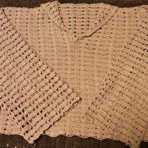 2021手編み大好き!まっすぐ編みのポロ襟プルオーバー 袖編み終わり