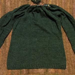 丸ヨークのプルオーバー 模様編み始めました