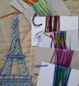 生徒さんの作品とグラデーション刺繍糸