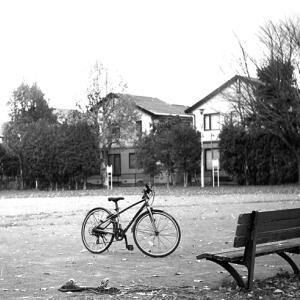 自転車の季節の終りと公園で遊ぶ子供たち