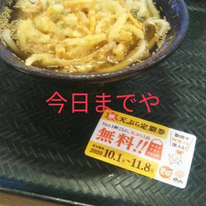 はなまるうどん  天ぷら無料終わりました