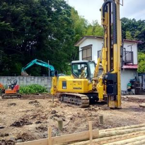 間伐材を使った環境にやさしい地盤改良です!
