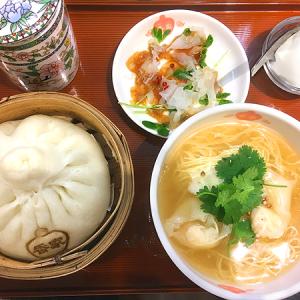 「香家」銀座ファイブ店 中国茶のかわいい茶器に美肌サラダ付き!大きな肉まん&ハーフ麺の「レディースセット」