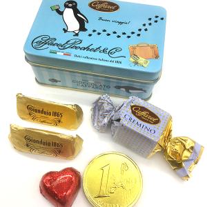 「カファレル」東京駅GRANSTA店 自慢のチョコレート5粒のアソート缶「Suicaのペンギン缶」