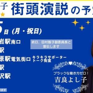 今日15日、秋葉原で吉良よし子候補、田村智子副委員長とキラサポがトーク