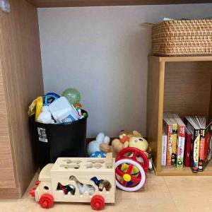 【子どもグッズ収納】リビングのおもちゃ収納を試行錯誤
