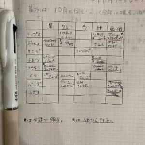 【少ない服で着回す】来月のスタメン服を考え中。ほぼ日手帳にアイテム表を書いてみた。