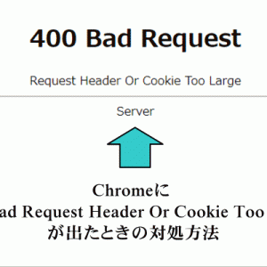 Chromeに「 400 Bad Request Header Or Cookie Too Large 」が出たときの対処方法
