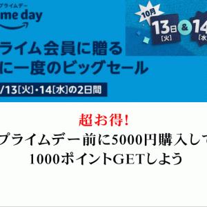 超お得!プライムデー前に5000円購入して1000ポイントGETしよう