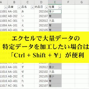 エクセルで大量データの特定データを加工したい場合は、「Ctrl + Shift + ¥」が便利