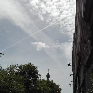 「あ、飛行機雲!」