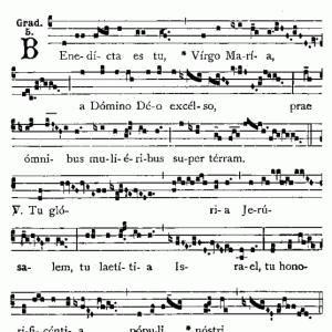 無原罪の御孕りの大祝日(12月8日)の聖伝のミサの昇階唱 Benedícta es tuをご紹介いたします