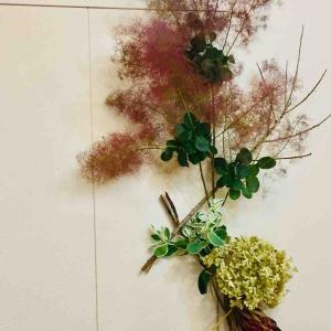 植物を使った壁作品 Arrangement with plants on a wall スモークツリー、初雪草、アナベル、プロテア