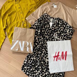 ZARAで買ったトレンドシャツとH&Mで買った柄トップス