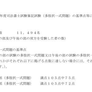 令和2年度司法書士試験筆記試験(多肢択一式問題)の基準点発表について☆