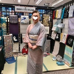 サローネ・単衣の紬に藤布の帯・しな布の帯のお客様。