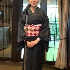 11周年ランチ会・紅葉の大島紬に絞りの帯のお客様。