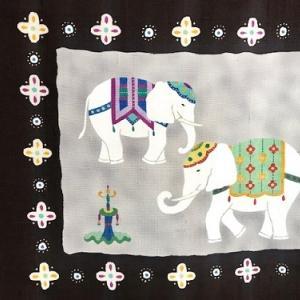 商品紹介・愛らしい象の染め帯+信州・上田紬。