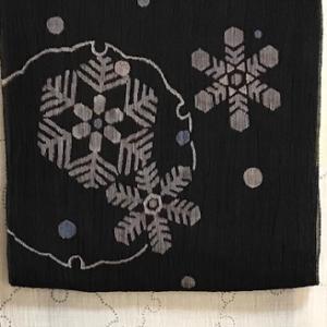 雪輪小千谷縮+雪の結晶帯+白クマ帯留=冷え冷えコーデ